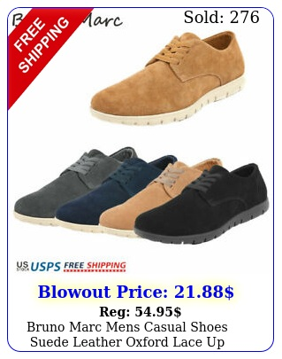 bruno marc mens casual shoes suede leather oxford lace up comfort loafer shoe