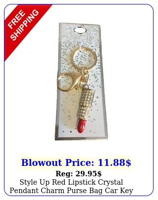 style up red lipstick crystal pendant charm purse bag car key chain accessorie
