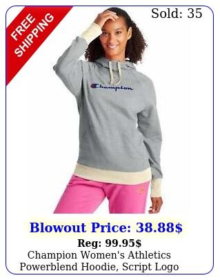 champion women's athletics powerblend hoodie script log