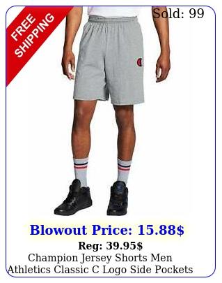 champion jersey shorts men athletics classic c logo side pockets drawcord cotto