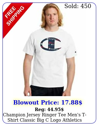 champion jersey ringer tee men's tshirt classic big c logo athletics cotto