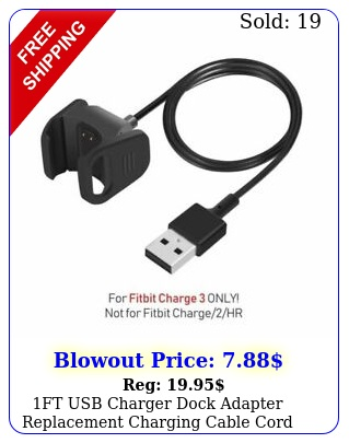 ft usb charger dock adapter replacement charging cable cord fitbit charg