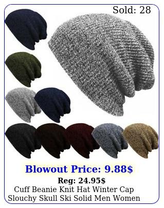 cuff beanie knit hat winter cap slouchy skull ski solid men women plain baggy u