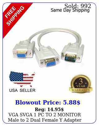 vga svga pc to monitor male to dual female y adapter splitter cable pi