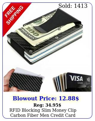 rfid blocking slim money clip carbon fiber men credit card holders metal walle