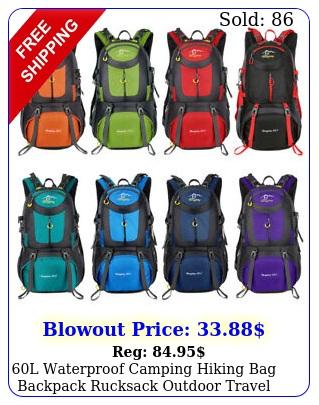 l waterproof camping hiking bag backpack rucksack outdoor travel trekking ba