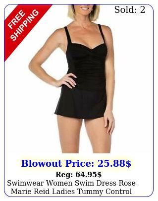 swimwear women swim dress rose marie reid ladies tummy control one piece blac