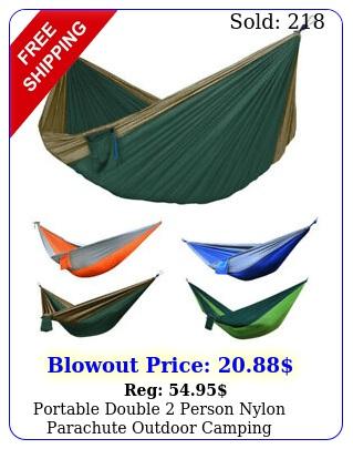 portable double person nylon parachute outdoor camping hammock hanging swin