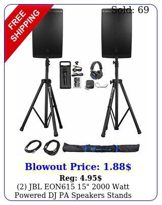 jbl eon  watt powered dj pa speakers stands cables mic headphone