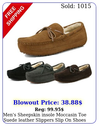 men's sheepskin insole moccasin toe suede leather slippers slip on shoes us siz