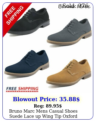 bruno marc mens casual shoes suede lace up wing tip oxford shoes dress shoe