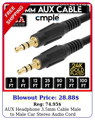 aux headphone mm cable male to male car stereo audio cord iphone samsung lo