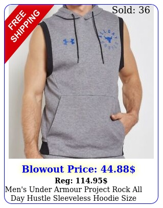 men's under armour project rock all day hustle sleeveless hoodie size larg