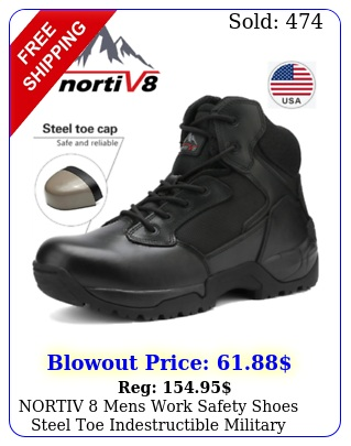 nortiv mens work safety shoes steel toe indestructible military tactical boot