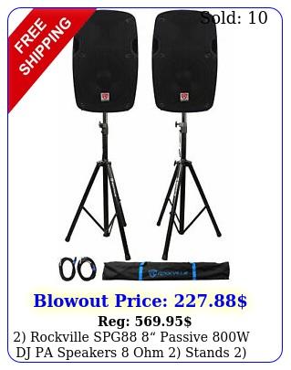 rockville spg passive w dj pa speakers ohm stands cables cas