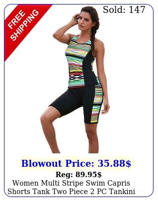 women multi stripe swim capris shorts tank two piece pc tankini swimsuit se