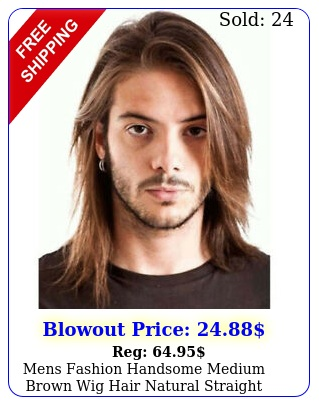 mens fashion handsome medium brown wig hair natural straight cosplay party wig