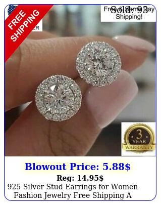 silver stud earrings women fashion jewelry free shipping a pairse