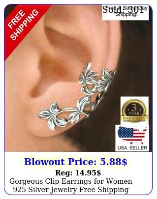 gorgeous clip earrings women silver jewelry free shippin