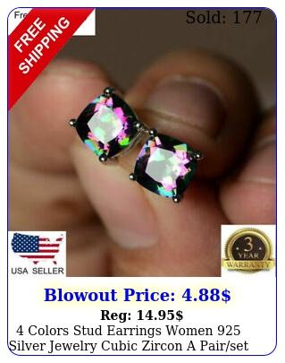 colors stud earrings women silver jewelry cubic zircon a pairse