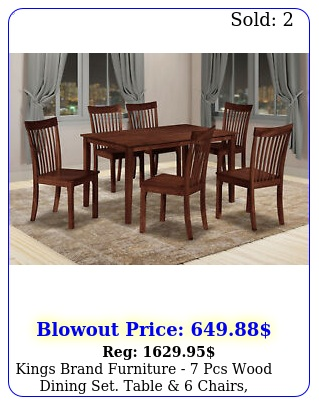 kings brand furniture  pcs wood dining set table  chairs cappuccin