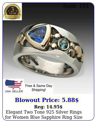 elegant two tone silver rings women blue sapphire ring siz