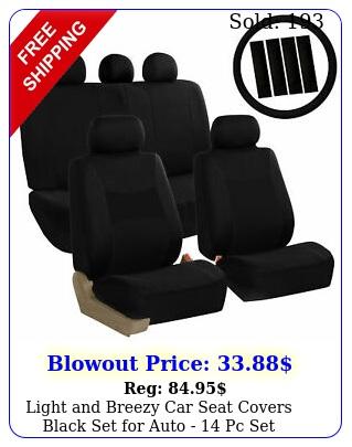 light breezy car seat covers black set auto  pc se