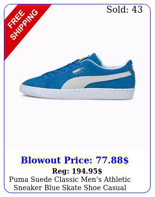 puma suede classic  mens athletic sneaker blue skate shoe casual footwea
