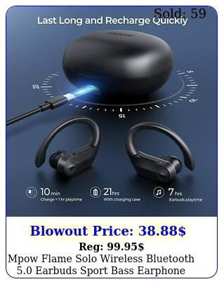 mpow flame solo wireless bluetooth earbuds sport bass earphone earhook mi