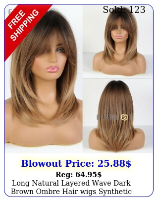 long natural layered wave dark brown ombre hair wigs synthetic party daily us