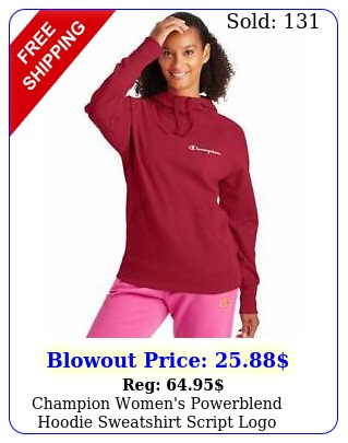 champion women's powerblend hoodie sweatshirt script logo athletics scuba hoo