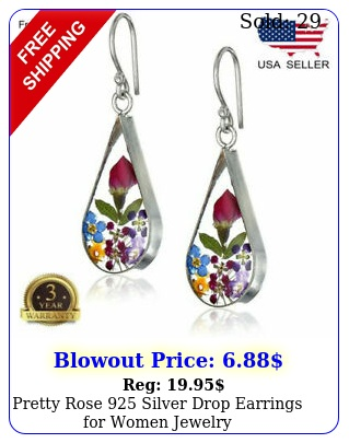pretty rose silver drop earrings women jewelr