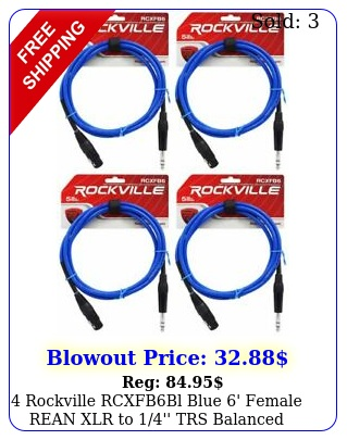 rockville rcxfbbl blue ' female rean xlr to '' trs balanced cables of