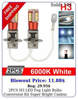 pcs h led fog light bulbs conversion kit super bright canbus k white