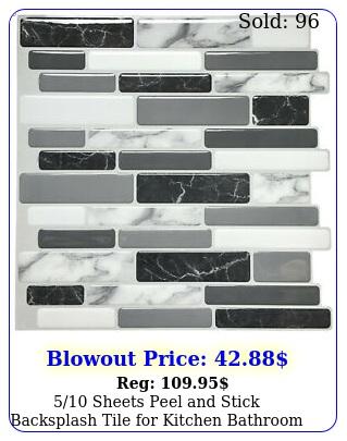sheets peel stick backsplash tile kitchen bathroom grey white bric