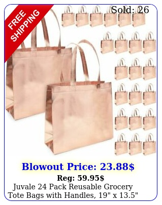 juvale pack reusable grocery tote bags with handles x rose gol
