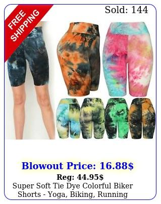 super soft tie dye colorful biker shorts yoga biking running bermuda short