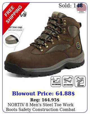 nortiv men's steel toe work boots safety construction combat work shoes siz