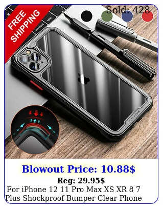 iphone  pro max xs xr  plus shockproof bumper clear phone case cove