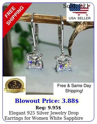 elegant silver jewelry drop earrings women white sapphire a pairse