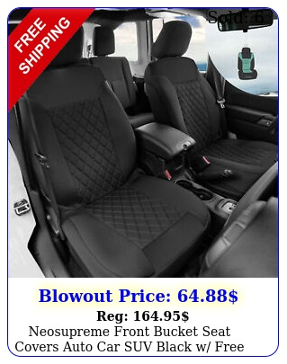 neosupreme front bucket seat covers auto car suv black w free gif