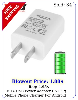 v a usb power adapter us plug mobile phone charger android smartphon