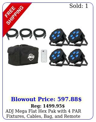 adj mega flat hex pak with par fixtures cables bag remot
