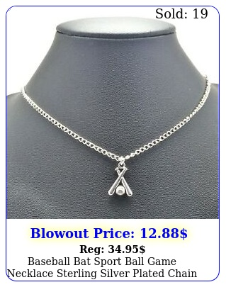 baseball bat sport ball game necklace sterling silver plated chain link women'