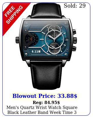 men's quartz wrist watch square black leather band week time dials fashio
