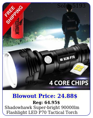 shadowhawk superbright lm flashlight led p tactical torch  batter