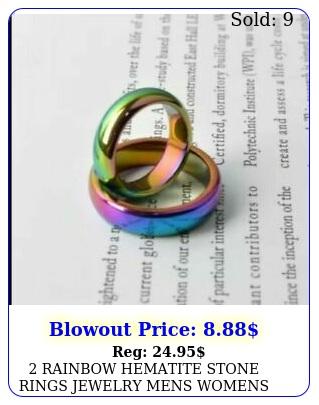 rainbow hematite stone rings jewelry mens womens band health energy focus ne