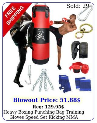heavy boxing punching bag training gloves speed set kicking mma workout gym us