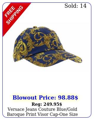 versace jeans couture bluegold baroque print visor capone siz