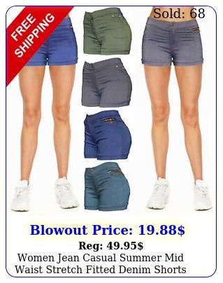 women jean casual summer mid waist stretch fitted denim short